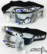ALIAS RIOT MOTOCROSS MX GOGGLES BLUE with GOGGLE-SHOP GSVS ROLL OFF SYSTEM