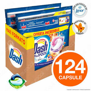 124 Pastiglie Dash All in 1 Pods Ambra Detersivo per Lavatrice in Capsule