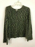 J.JILL Sweater Green Size Medium Petite Marled Womens PM