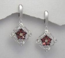 40mm Solid Sterling Silver Raspberry Garnet Flower Dangle Earrings 7.6g