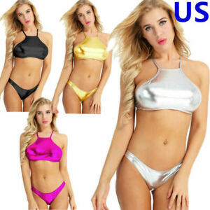 Women Shiny Metallic Wet Look Bikini Set Halter Crop Top Brief Swimsuit Swimwear