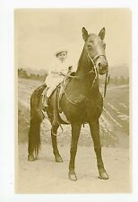 Cute Little Girl on Stuffed Horse RPPC North Beach Long Island—Studio Photo~1910