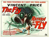 """THE FLY / RETURN OF THE FLY  Double Bill  repro UK cinema poster 30x40"""" Free P&P"""