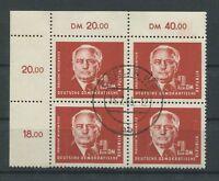 DDR 326 PIECK 1952 ER-4er-Block o.l. RAND FEHLENDES ZAHNLOCH m476