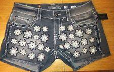 Miss Me Shorts Flower Dark Gray Denim Shorts Size 26 Or 27 $99