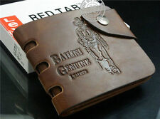 Mens Brown Pockets Leather Wallet Clutch Cente Bifold ID credit cards Purse AA*