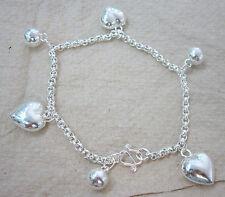 925 Sterling Silver Plain Medium Love Heart & Bell Ball Belcher 19cm Bracelet