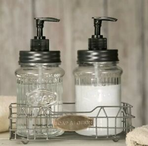 Farmhouse Hoosier Soap and Lotion Dispenser Set Kitchen Glass w/ Pumps & Holder