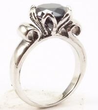 2.62 Ct Certified 925 sterling silver black diamond engagement rings~OM04