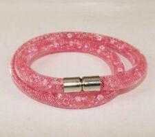 Bracciali di bigiotteria maglia rosa di cristallo