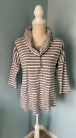 Cable & Gauge Womens Sweater Gray White Striped L Cowl Neck Pullover Large EUC
