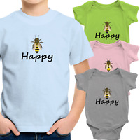 Toddler Kid Boy Tee T-Shirt Infant Baby Bodysuit Clothes Gift Bee Happy Be Happy