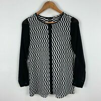 AND The Label Womens Blouse Top 8 Black White Geometric Long Sleeve Sheer