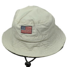 United States Flag Beige Sun Bucket Hat USO United Service Organization Strap