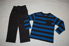 Boys Outfit Blue & Black Stripe L/S T-Shirt Casual Woven Pull On Pants Size 4
