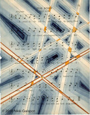 antique sheet music geometric modern art wall decor blue orange grey beige black