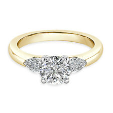 Round Cut 14K Yellow Gold Real 0.74 Ct Solitaire Diamond Engagement Rings