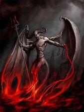 Impresión de arte Pintura Diablo Demonio Fuego Cadena Trident alas, cuernos Monster lfmp0205