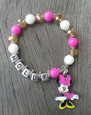 Girls Personalised Name - MOUSE Inspired Charm Pink Bead Bracelet Jewelry