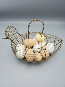 Vintage Wire Chicken Egg Basket With Eggs