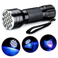 Hot UV Ultra Violet 21 LED Flashlight Mini Blacklight Aluminum Torch Light Lamp