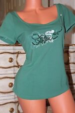 MEXX  cotton mix bead embroidered  green t-shirt top size L