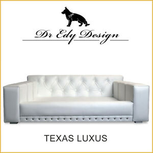 Hundesofa TEXAS LUXUS Weiß XXL Hundebett Couch HANDMADE Kunstleder Weiß NEU