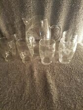 """New listing Clear Glass Etched Water Pitcher 6"""" Tall With Ice Lip And 6 Glasses 3 1/2"""" T"""