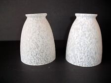 2 White speckled Glass Ceiling Fan Globe Light Shade Vanity Replacement