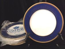 Coalport Athlone Blue Luncheon Salad Plate Bone China White Gold England 8""