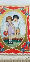 Vtg VALENTINES CARDS Die Cut CUTE BOY & GIRL COUPLE Heart To Let ROSE Whitney A1