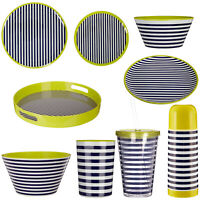 Outdoor Dinner Set Crockery Stripe Plates Bowls Tray Flask Cup Picnic Salad BBQ