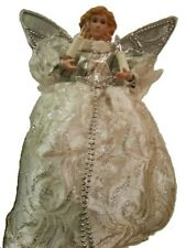 Lighted Angel in Gold Snowflake Dress Christmas Tree Topper Figure