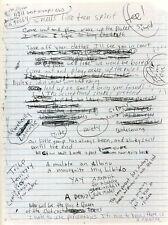 KURT COBAIN / NIRVANA Handwritten Lyrics 'Smells Like Teen Spirit' - preprint