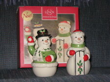 Lenox Christmas Holiday Snow Couple Salt & Pepper Shakers in box Snowman 2 Pcs
