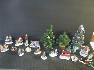20 Pieces Of Christmas Village Figurines, Trees, Accessories