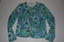 LILLY PULITZER BLUE GREEN FLORAL CARDIGAN SWEATER WOMENS SIZE SMALL S