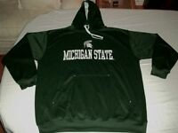 Michigan State Spartans Synthetic Hoodie 2XL Section 101 Green Embroidered NCAA