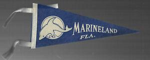 VINTAGE SOUVENIR FELT PENNANT MARINELAND FLORIDA 1960s 70s DOLPHIN
