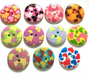 15 pcs cute Heart graphic retro button 23 mm Mix colors for sewing crafts