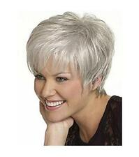 New Women lady Wig Short Straight Grey Synthetic Classic Hair Wigs +Wig cap