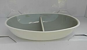 HARKERWARE Oval Divided Serving Bown. Olive Green, NICE