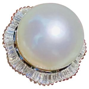 Vintage Estate Retro 18k Gold South Seas Pearl Diamond Baguette Ring