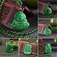 Imitation Jadeite Buddha Guanyin Lucky Amulet Pendant Charm Necklace Jewelry