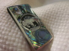 Beautiful Real Buffalo Head. Silver Inlaid And Abalone Money Clip.
