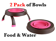 Elevated Collapsible Portable Water Food Bowl for Pets  Sm Pink/Brown 2pk