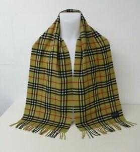 "BURBERRY SCARF, Yellow Mustard Honey Beige Classic Nova Check, 64"" x 12"""