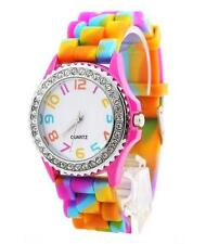 Classic Rainbow Rubber Jelly Silicone Crystal Wrist Watch Men Women Xmas Gift