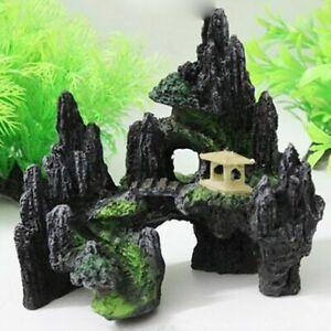 Large Aquarium Mountain Rock View Cave Tree Bridge Fish Tank Rockery Ornament