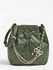 GUESS Green Bucket Bag, Medium Size, Women Chain Strap Handbag, New With Tag